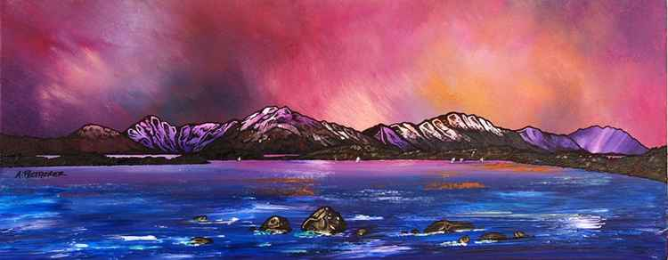 Loch Lomond Dusk From Near Balmaha, Trossachs, Scotland - An original contemporary Scottish landscape painting -