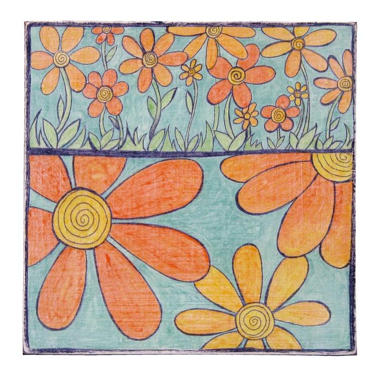 Orange Daisies on Blue Sky - Image 0