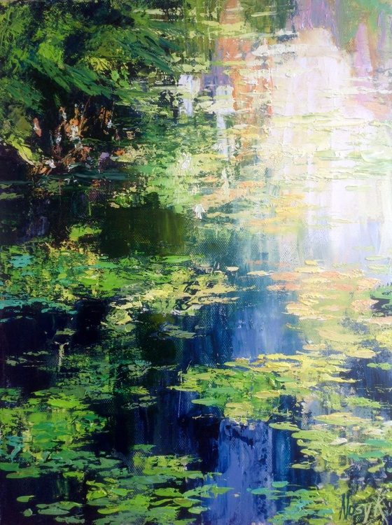 River water. Waterlilies abstract painting - Image 0