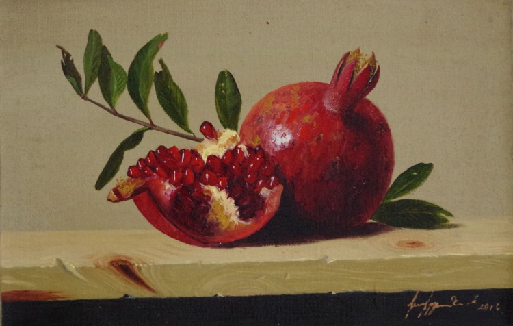 Still Life, Fruits, Pomegranate and Plums Original oil Painting, Classic Art, Handmade painting, One of a Kind - Image 0