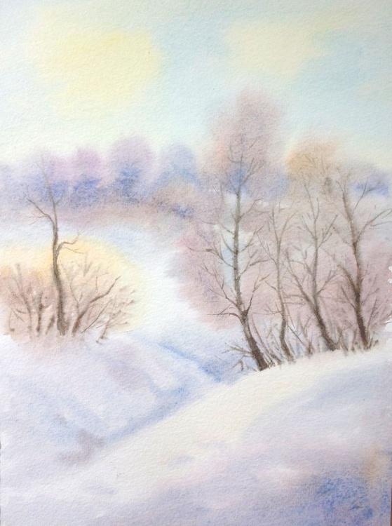 Winter Landscape - Snow Art Original Watercolor Painting - winter landscape -  snowdrifts - trees - Image 0