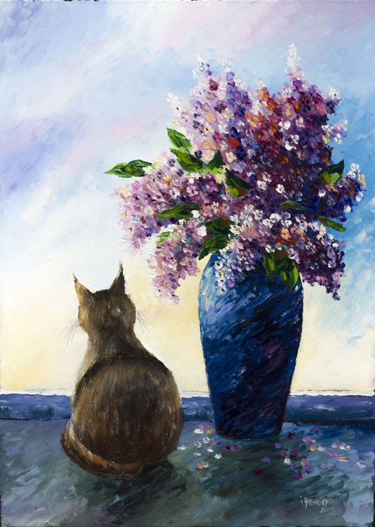 Lilacs and cat - Image 0