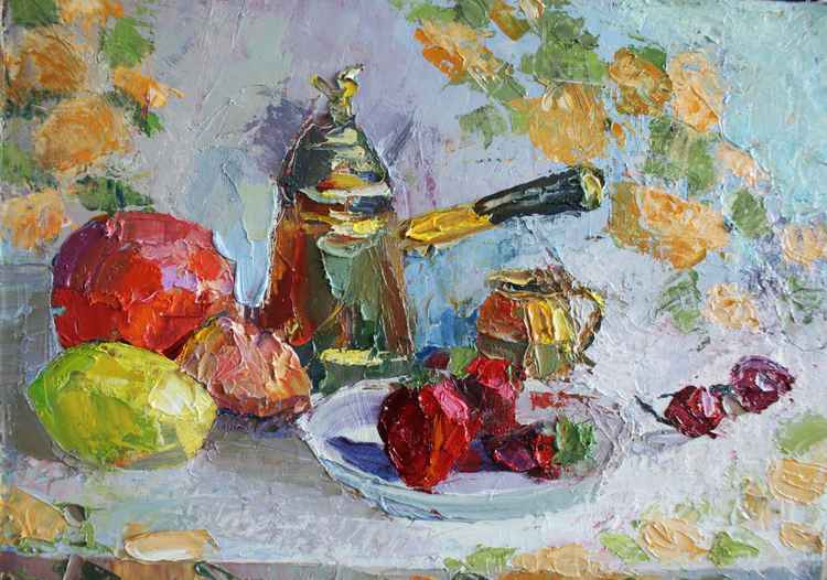 """Sunny still life"" . Free shipping. Canvas/Oil. Size 30x40 cm"