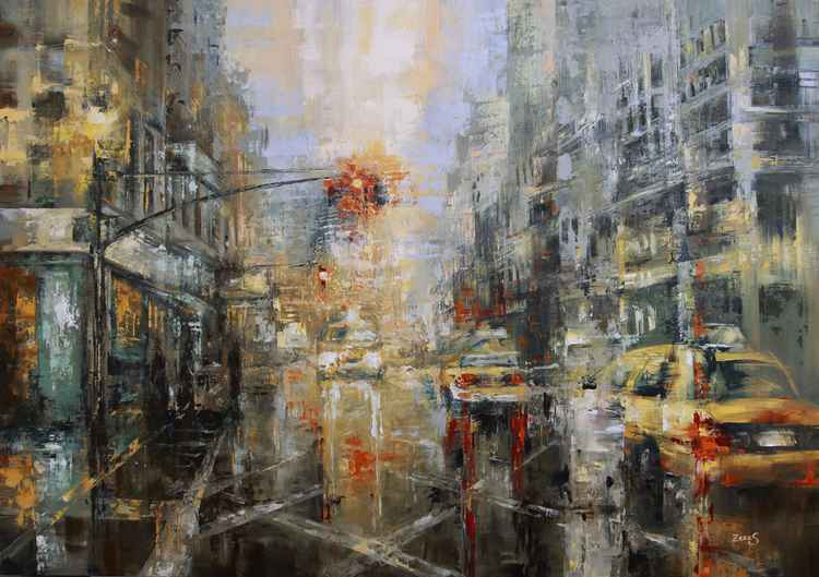 Yellow Cabs Cityscape Oil Painting  Architecture & cityscapes