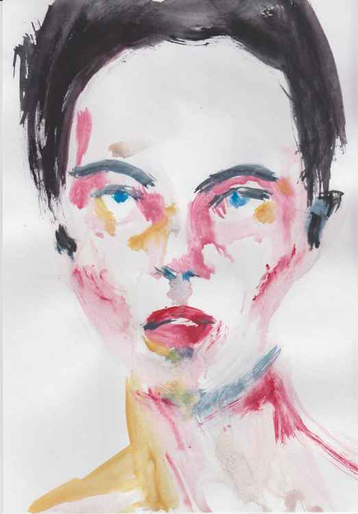 Original Female Gouache Portrait -