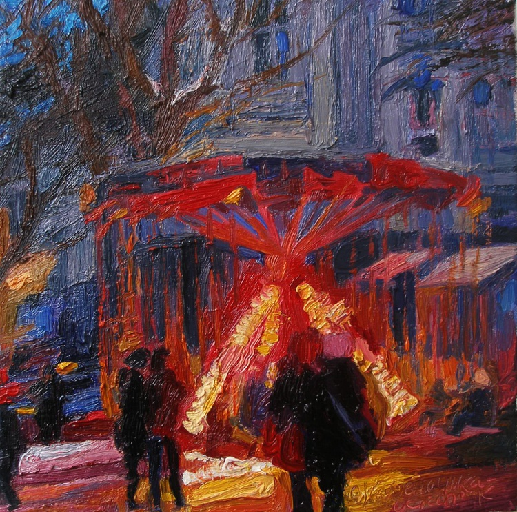 Winter evening on the carousel. - Image 0