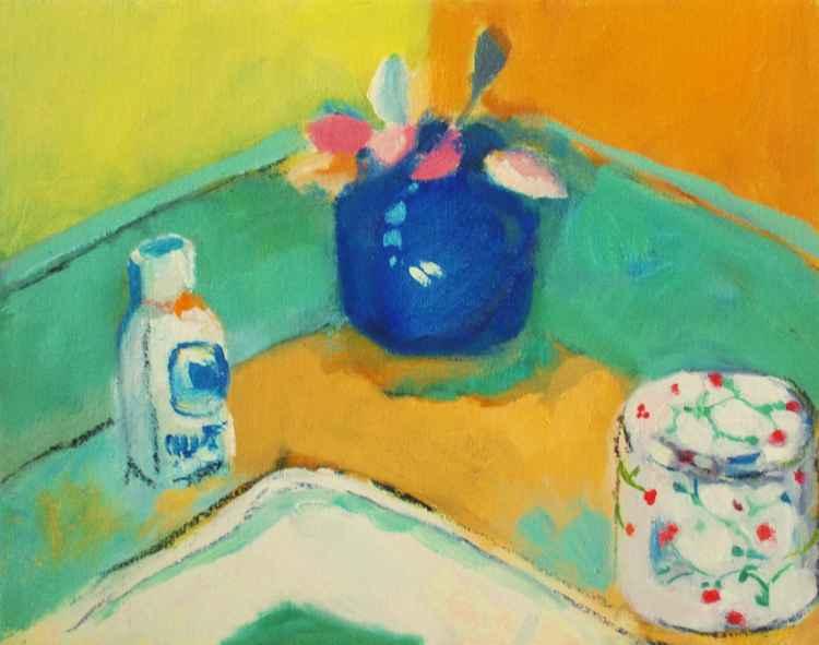 Rosebuds Blue Vase -