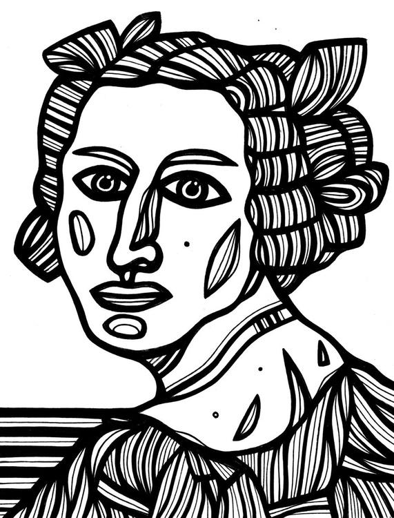Quiescent Woman Original Drawing - Image 0