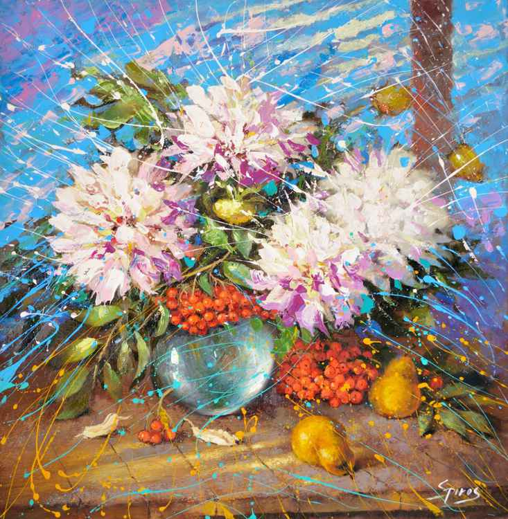 "Evening impression - Original Palette Knife oil painting on canvas by Dmitry Spiros. Size: 30""X31"" (74X77 cm)"