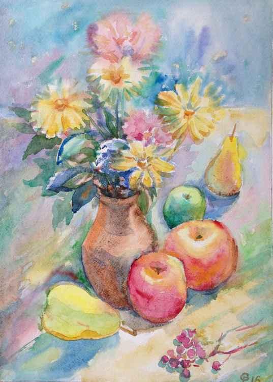 Autumn fruit. Apples. Pears. Flowers. Still life.