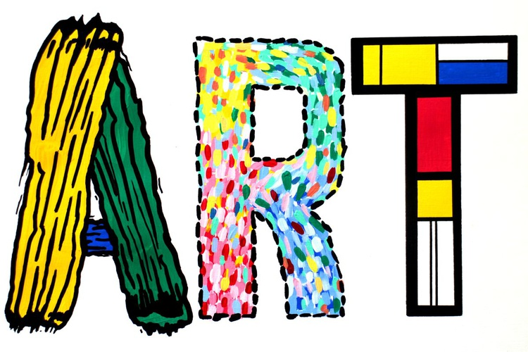 Modern Art Typography Painting on A4 Paper - Image 0