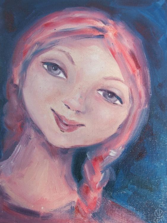 Smile (15x20cm) original oil painting portrait girl smile emotion small gift - Image 0