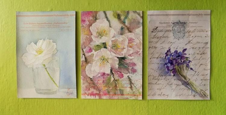 Set of three watercolors / flowers/ - Image 0