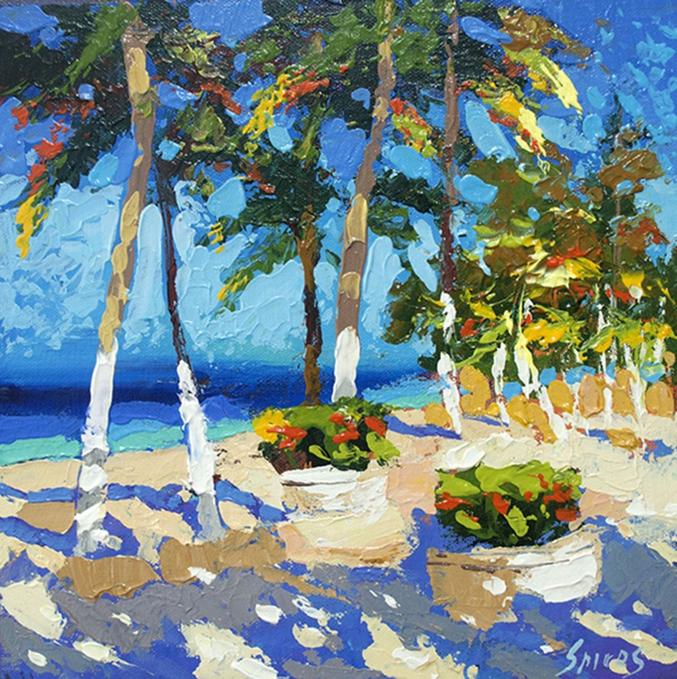 """Evening palm trees"", DMITRY SPIROS PAINTING, OIL PAINTING, HOME DECOR, WALL ART,  HOME DECOR, CANVAS ART, PAINTING ON CANVAS, 70cm X 70cm, (28"" x 28"") - Image 0"