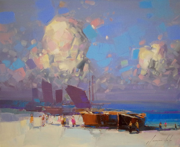 Fishing Boats, Seascape Original oil painting, Handmade artwork, One of a kind Signed with Certificate of Authenticity - Image 0