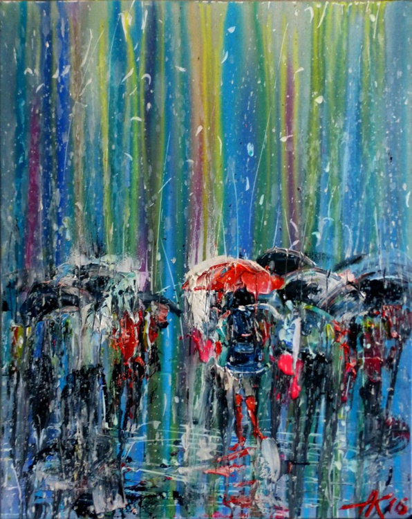 People Under Rain, original oil painting 60x75 cm, Ready to hang! - Image 0