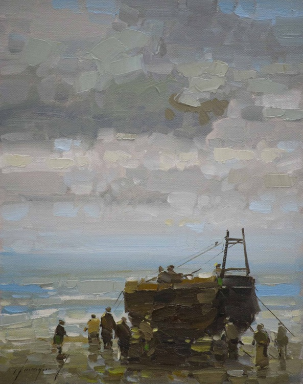 Fishing Boat on the Shore  Handmade oil painting One of a kind - Image 0