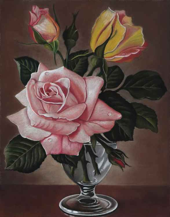"Original pastel drawing ""James Noble Roses"" -"