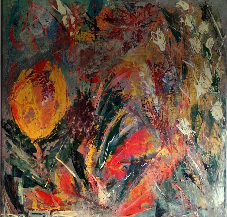 EXOTIC GARDEN original acrylic painting on canvas 40x40x1.6 cm Abstract Modern Artwork - Image 0