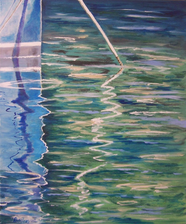 Blue boats 5 shadows and reflections - Image 0