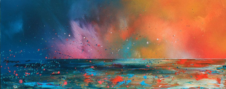 Ardnamurchan Summer Sunset, Evening Squall, Scotland - An original contemporary Scottish landscape painting in spray paint, oil paint & acrylic. - Image 0
