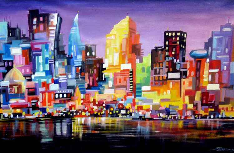 Night Abstract Cityscape-Acrylic on Canvas Painting -