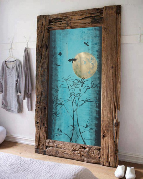 MOON BAMBOO BIRDS Japanese night acrylic painting 85x160 cm unstretched canvas art blue turquoise teal black gold by artist Ksavera - Image 0