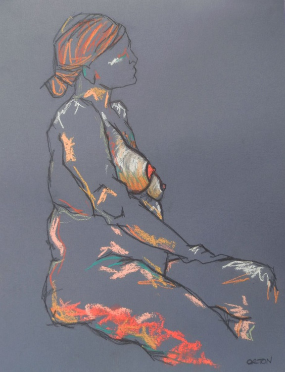 Original Female Figure Study In Charcoal And Pastel Gesture Life Drawing - Image 0