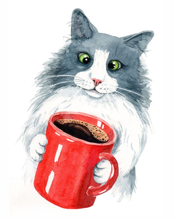 Cat with Coffee Cup - Image 0
