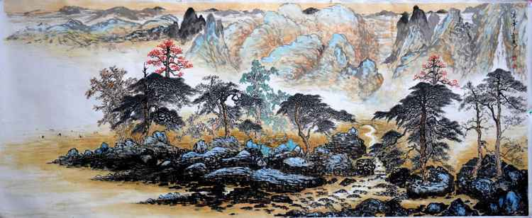 Chinese watercolour Landscape paining,with heavy clour-08