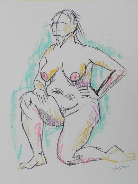 Female Nude Original Charcoal Pastel Figure Study Life Drawing Gesture Kneeling Female Nude - Image 0