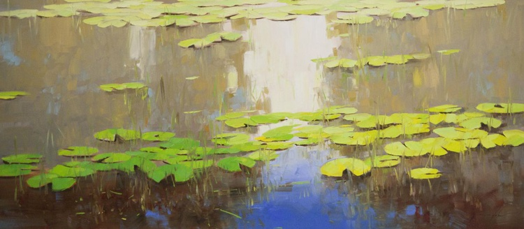 Water lilies  Pond Original oil Painting Large size Handmade artwork One of a Kind - Image 0