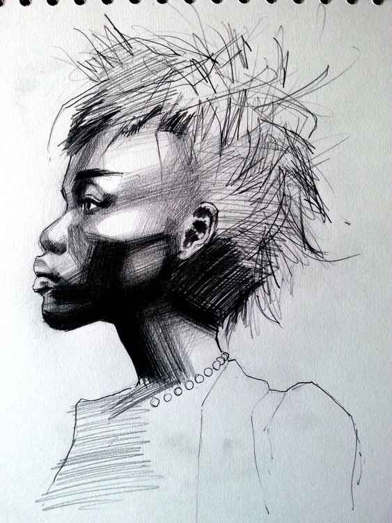 Side profile in pencil -