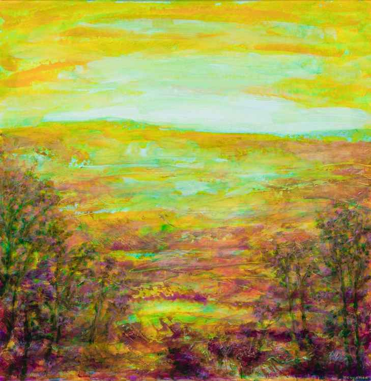 Yellow abstract landscape #2 - large size - 69X70 cm work on paper -