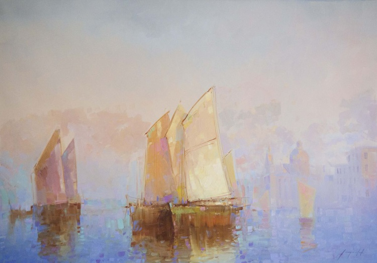 Sail Boats in Venice Harbor Original oil painting  Handmade artwork One of a kind Large Size - Image 0