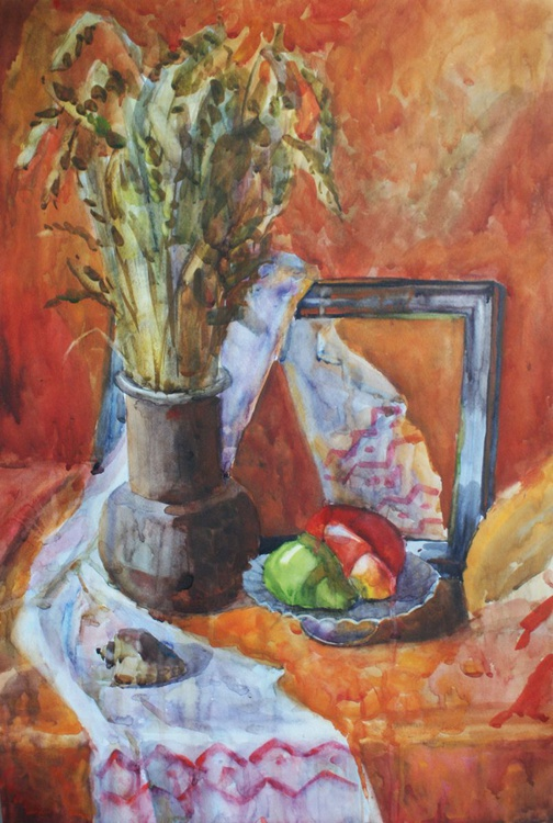 """Still life with Wheat."" Free shipping. Watercolor. Size 50x70 cm - Image 0"