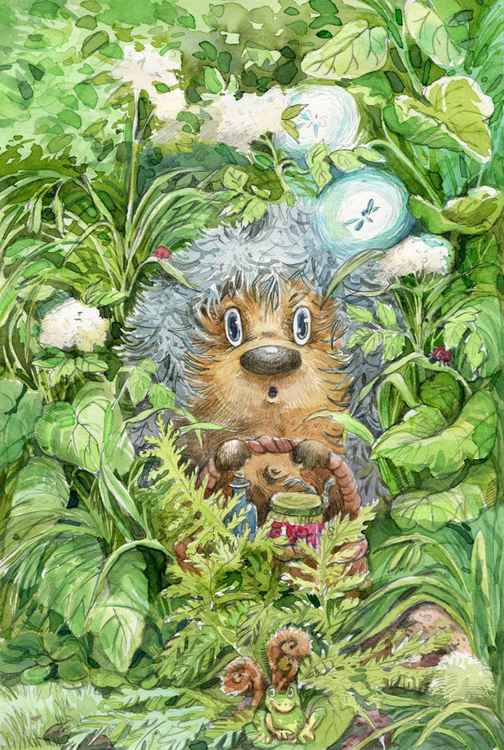 ORIGINAL WATERCOLOR  Hedgehog lost -