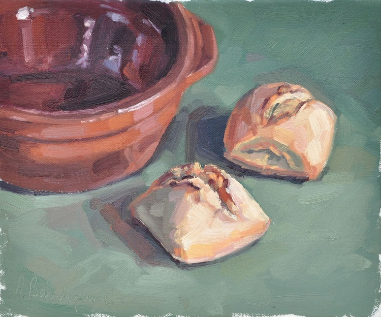 French rolls and an earthenware dish - Image 0