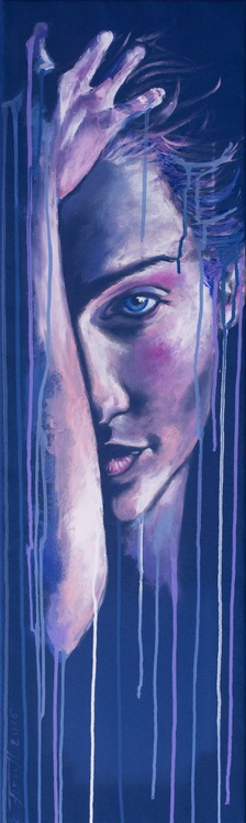 """""""I Just Want to Be OK'"""",Original acrylic painting on canvas 30x100x2cm from serie """" Blue dimension"""" - Image 0"""