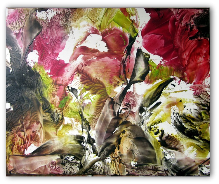 "Abstract Floral on Card Stock 9.5""x12"" - Image 0"