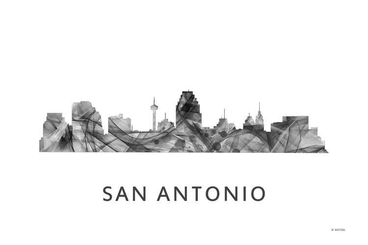 San Antonio Texas Skyline WB BW