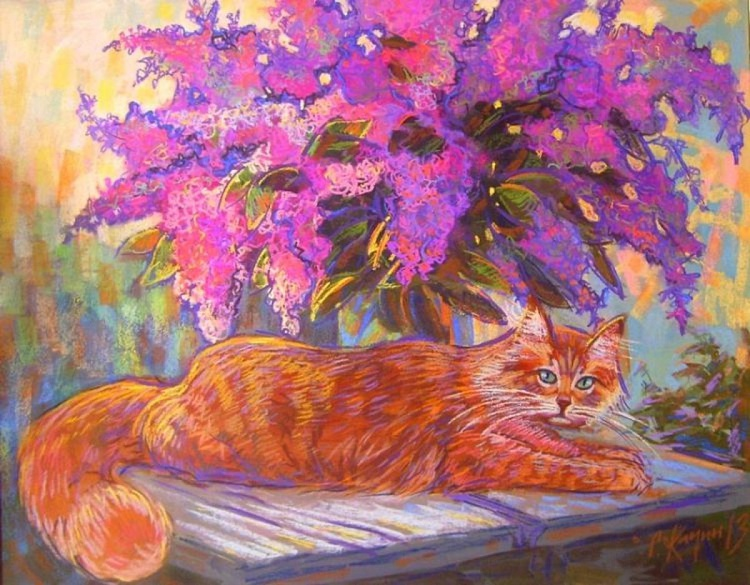 lilac and cat - Image 0
