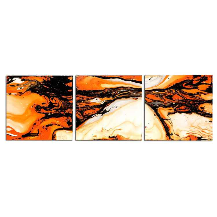 Lava Flow Orange/Black | Orange Metal Art - Abstract Painting - Swirling Modern Wall Art - Abstract Orange/White Artwork - Liquid Painting -