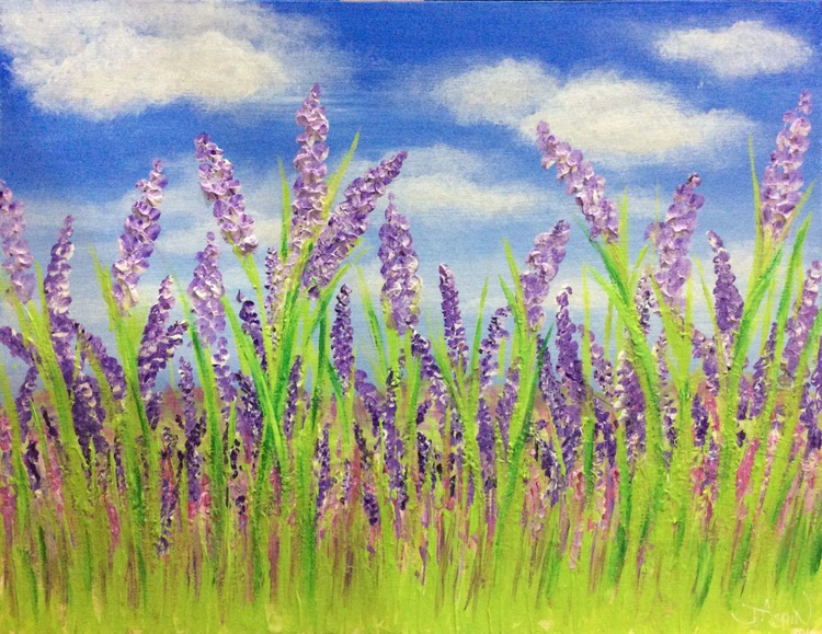 Lavender Meadow 18 x 14ins - Image 0