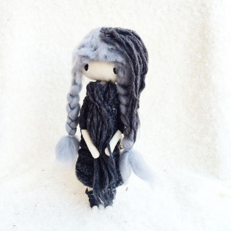 Grey Poseable Ooak Cloth Doll with unique cloth - Image 0