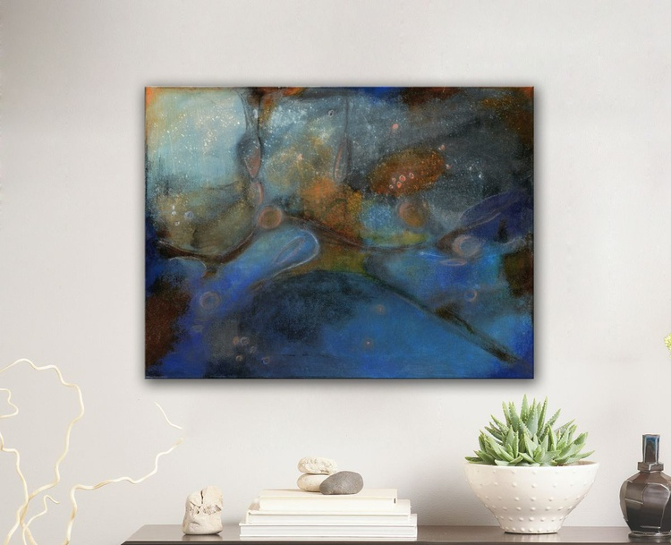 """The Pleiades in the """"Salle des Taureaux""""  II -  Original blue and black painting, 2014 - Image 0"""