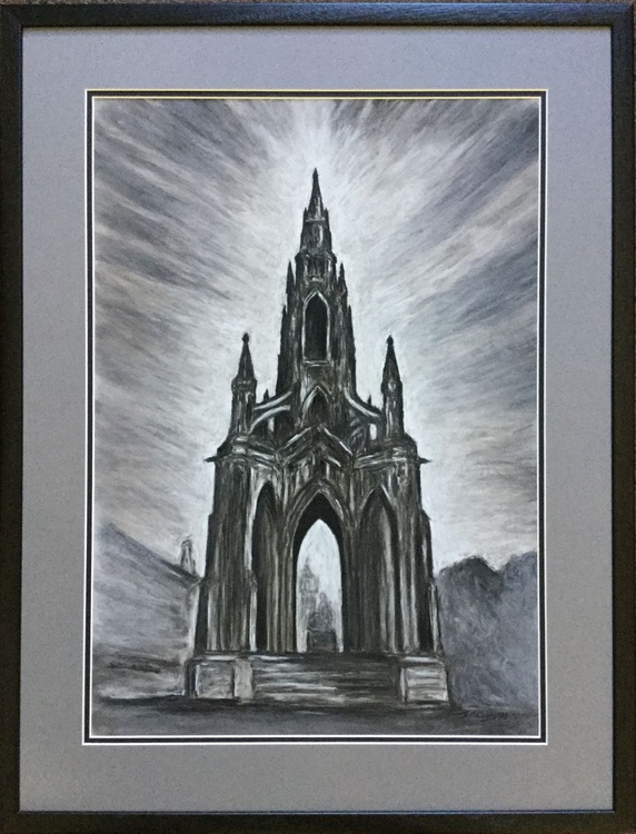 Scott Monument, Edinburgh - chalk and charcoal drawing FRAMED ORIGINAL - Image 0