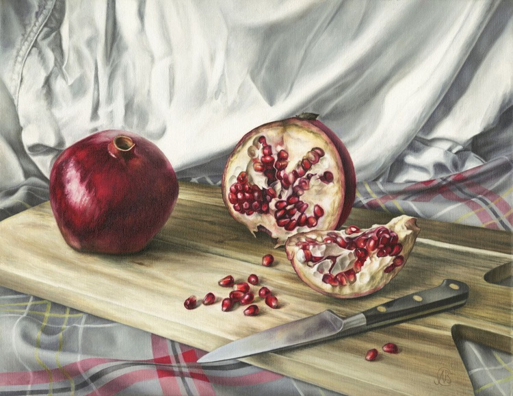 Pomegranates on an Acacia Board - Image 0