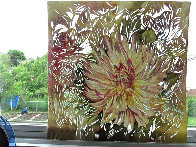dahlia watercolor with paper cut - Image 0