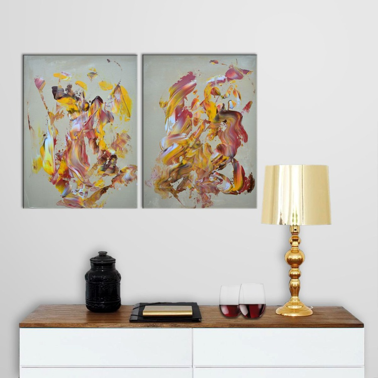 Working Progress 001 - Diptych Abstract Home Decor Original Acrylic Painting Art on Canvas Ready To Hang - Only 48h Available! - Image 0